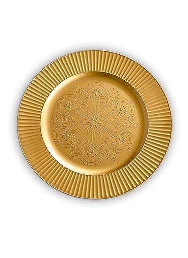 Kanca Ev 6'lı Supla, Ortası Çiçek Desenli Altın